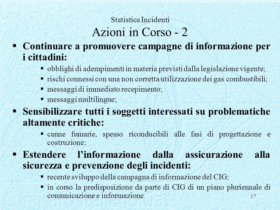 17 Continuare a promuovere campagne di informazione per i cittadini: obblighi di adempimenti in materia previsti dalla legislazione vigente; rischi co