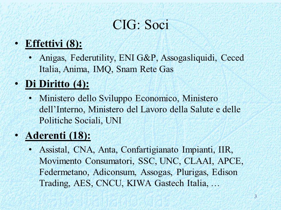 3 CIG: Soci Effettivi (8): Anigas, Federutility, ENI G&P, Assogasliquidi, Ceced Italia, Anima, IMQ, Snam Rete Gas Di Diritto (4): Ministero dello Svil