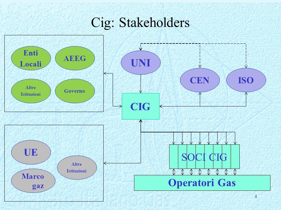 Cig: Stakeholders 4 CIG UNI CENISO AEEG Governo Enti Locali Altre Istituzioni UE Marco gaz Altre Istituzioni Operatori Gas SOCI CIG