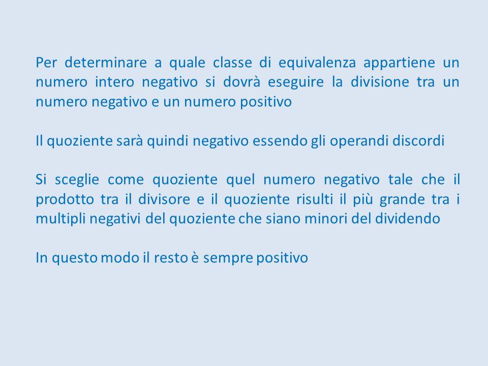 Per determinare a quale classe di equivalenza appartiene un numero intero negativo si dovrà eseguire la divisione tra un numero negativo e un numero p