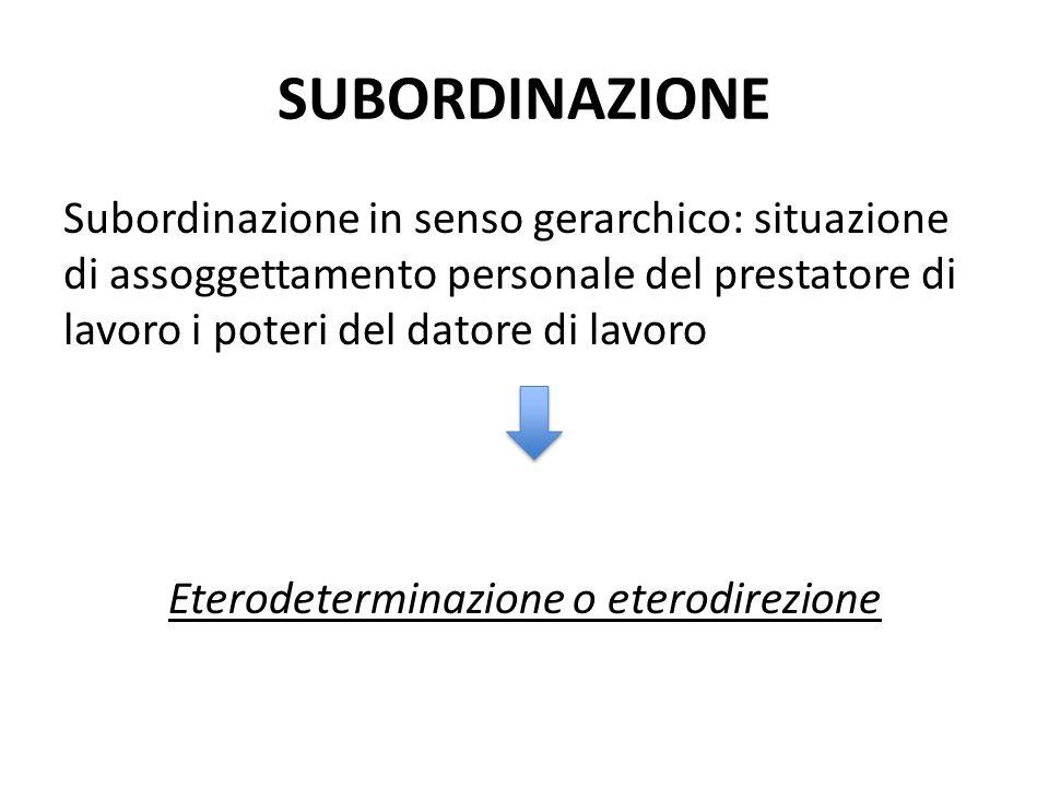 SUBORDINAZIONE Subordinazione in senso gerarchico: situazione di assoggettamento personale del prestatore di lavoro i poteri del datore di lavoro Eter