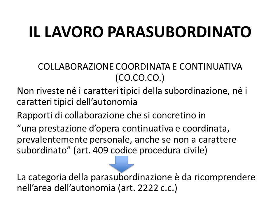 IL LAVORO PARASUBORDINATO COLLABORAZIONE COORDINATA E CONTINUATIVA (CO.CO.CO.) Non riveste né i caratteri tipici della subordinazione, né i caratteri