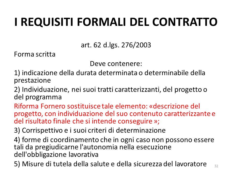 I REQUISITI FORMALI DEL CONTRATTO art. 62 d.lgs. 276/2003 Forma scritta Deve contenere: 1) indicazione della durata determinata o determinabile della