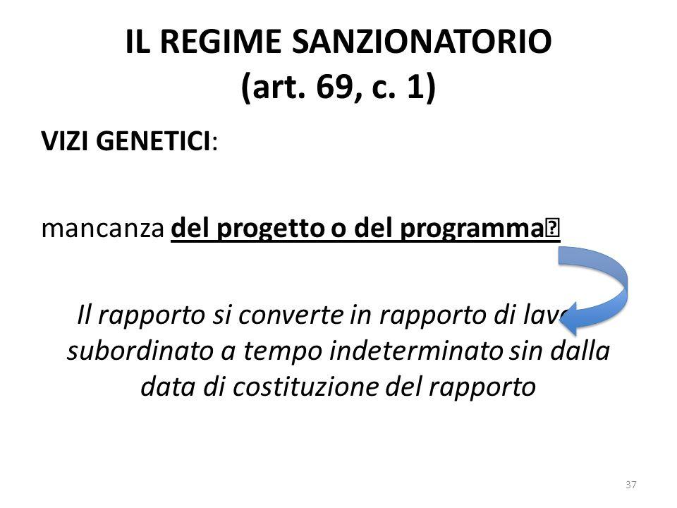 IL REGIME SANZIONATORIO (art. 69, c. 1) VIZI GENETICI: mancanza del progetto o del programma Il rapporto si converte in rapporto di lavoro subordinato