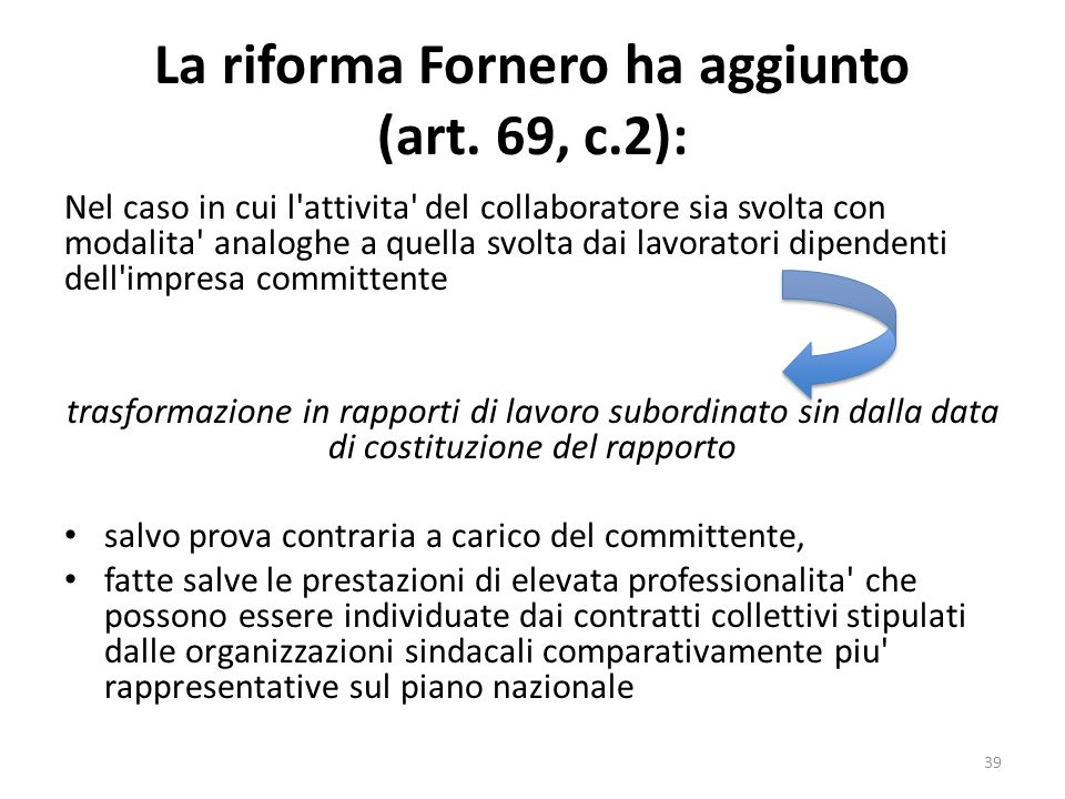 La riforma Fornero ha aggiunto (art. 69, c.2): Nel caso in cui l'attivita' del collaboratore sia svolta con modalita' analoghe a quella svolta dai lav