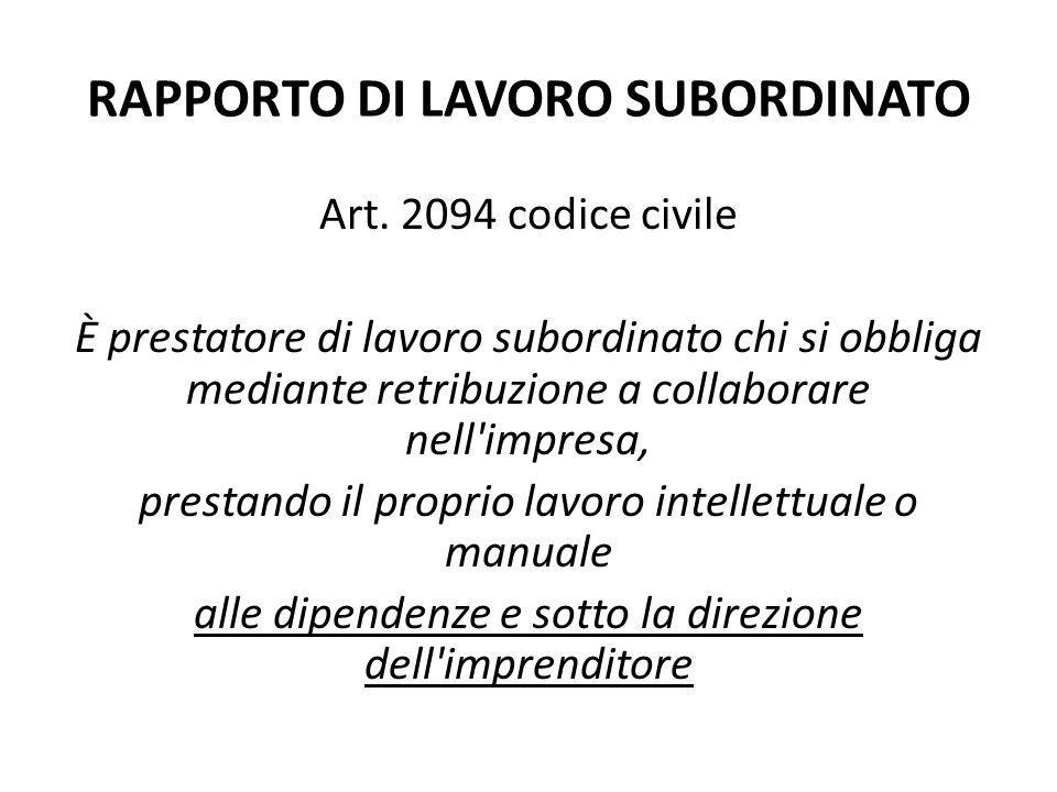 RAPPORTO DI LAVORO SUBORDINATO Art. 2094 codice civile È prestatore di lavoro subordinato chi si obbliga mediante retribuzione a collaborare nell'impr