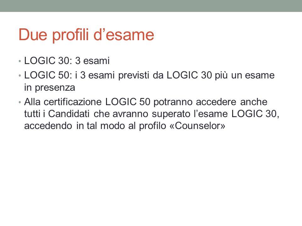 Due profili desame LOGIC 30: 3 esami LOGIC 50: i 3 esami previsti da LOGIC 30 più un esame in presenza Alla certificazione LOGIC 50 potranno accedere