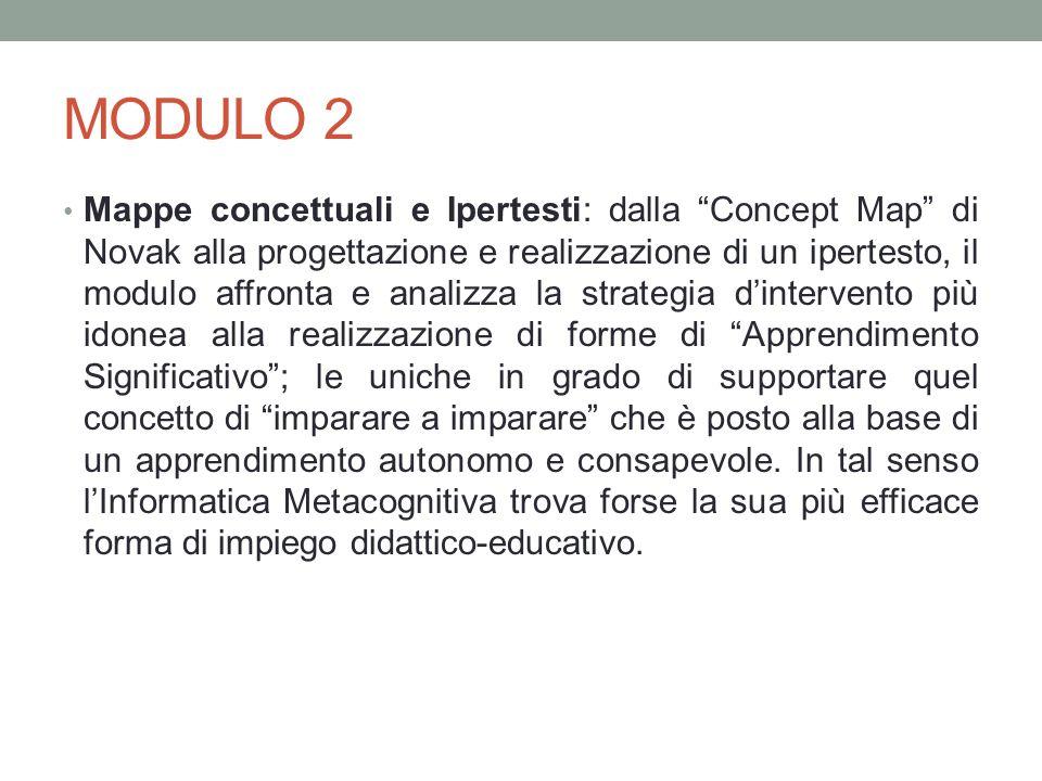 MODULO 2 Mappe concettuali e Ipertesti: dalla Concept Map di Novak alla progettazione e realizzazione di un ipertesto, il modulo affronta e analizza l