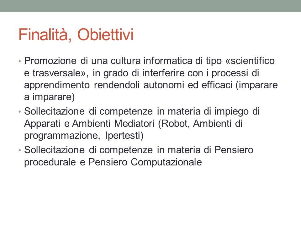 Finalità, Obiettivi Promozione di una cultura informatica di tipo «scientifico e trasversale», in grado di interferire con i processi di apprendimento