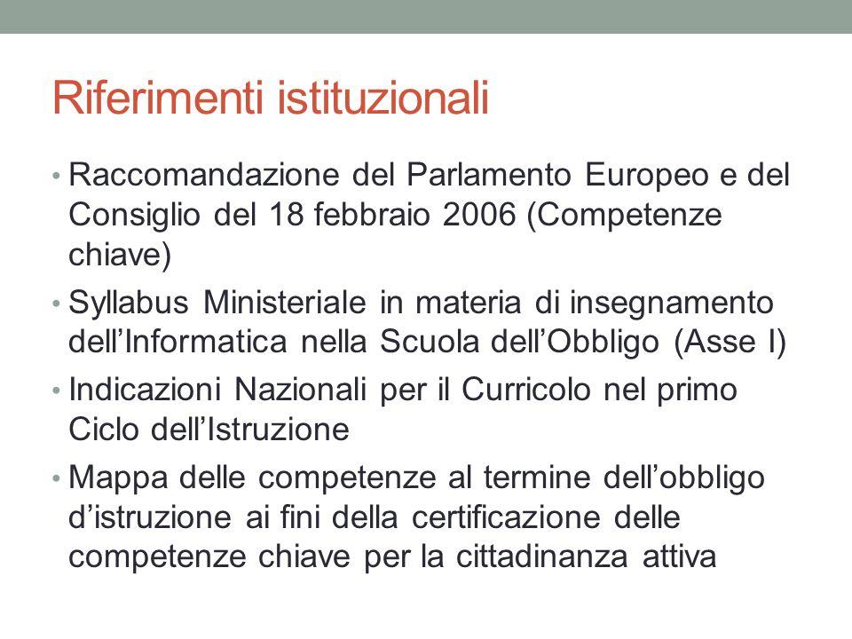 Riferimenti istituzionali Raccomandazione del Parlamento Europeo e del Consiglio del 18 febbraio 2006 (Competenze chiave) Syllabus Ministeriale in mat