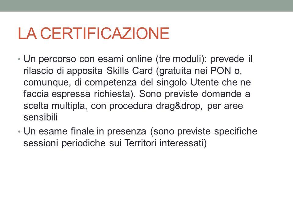 LA CERTIFICAZIONE Un percorso con esami online (tre moduli): prevede il rilascio di apposita Skills Card (gratuita nei PON o, comunque, di competenza