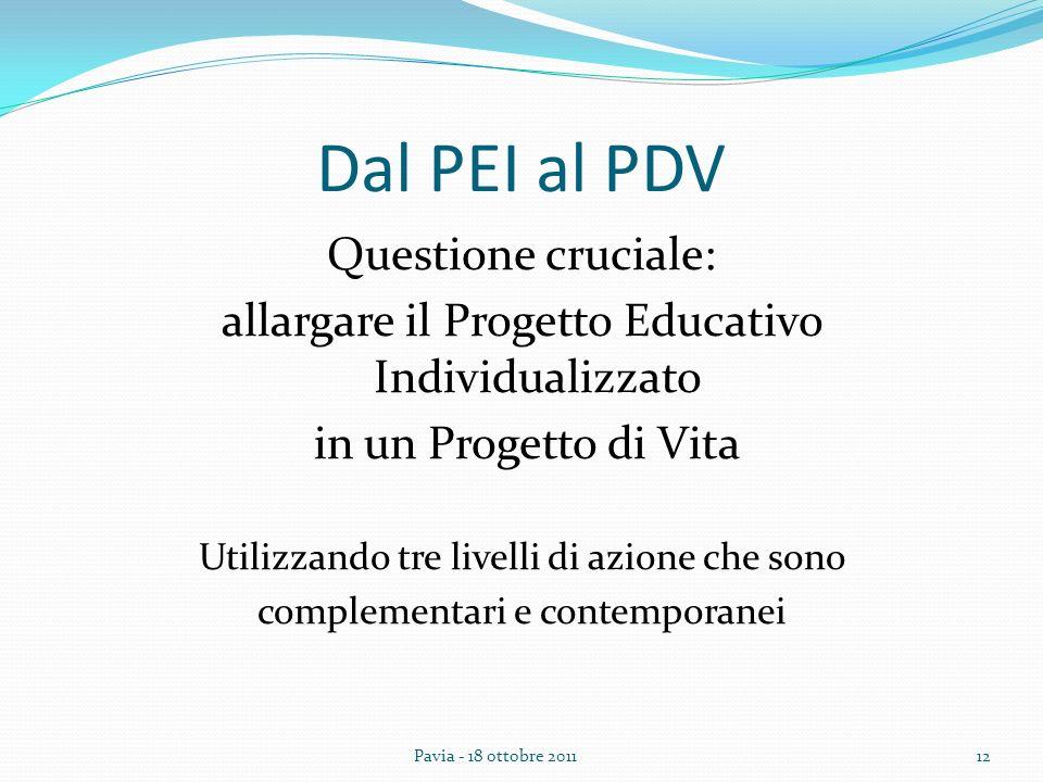 Dal PEI al PDV Questione cruciale: allargare il Progetto Educativo Individualizzato in un Progetto di Vita Utilizzando tre livelli di azione che sono complementari e contemporanei 12Pavia - 18 ottobre 2011