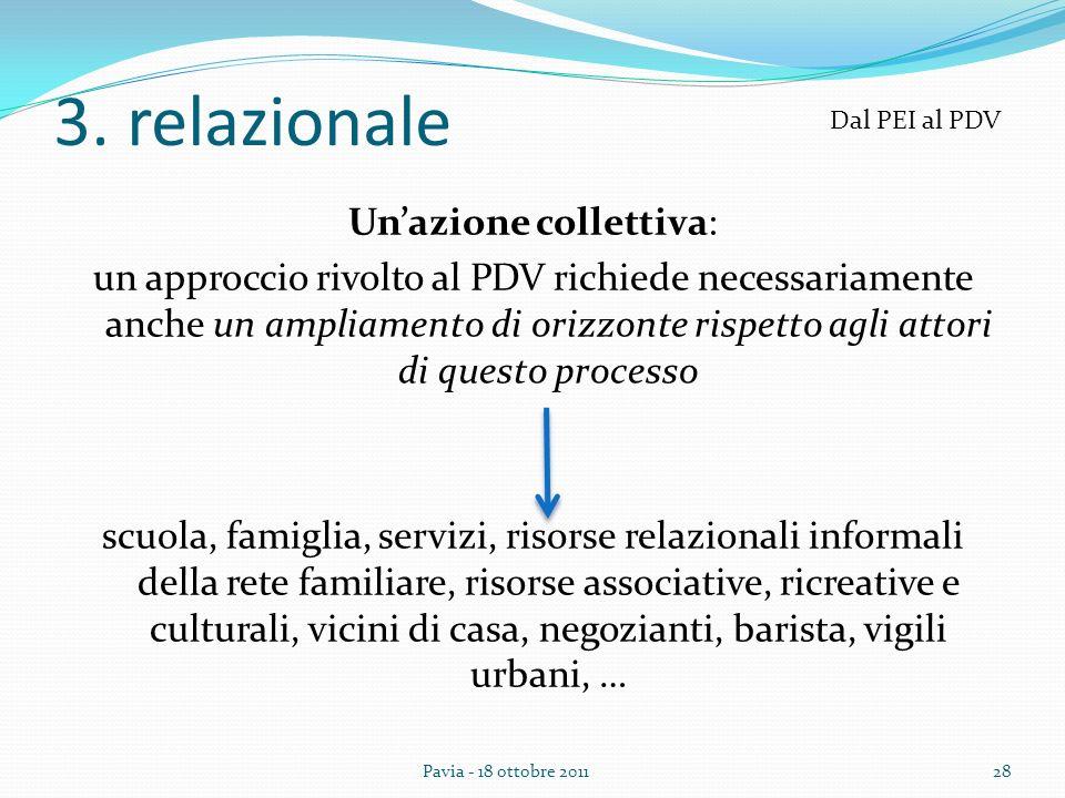 3. relazionale Unazione collettiva: un approccio rivolto al PDV richiede necessariamente anche un ampliamento di orizzonte rispetto agli attori di que