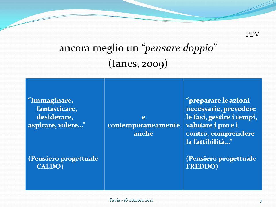 ancora meglio un pensare doppio (Ianes, 2009) PDV 3Pavia - 18 ottobre 2011 Immaginare, fantasticare, desiderare, aspirare, volere… (Pensiero progettua