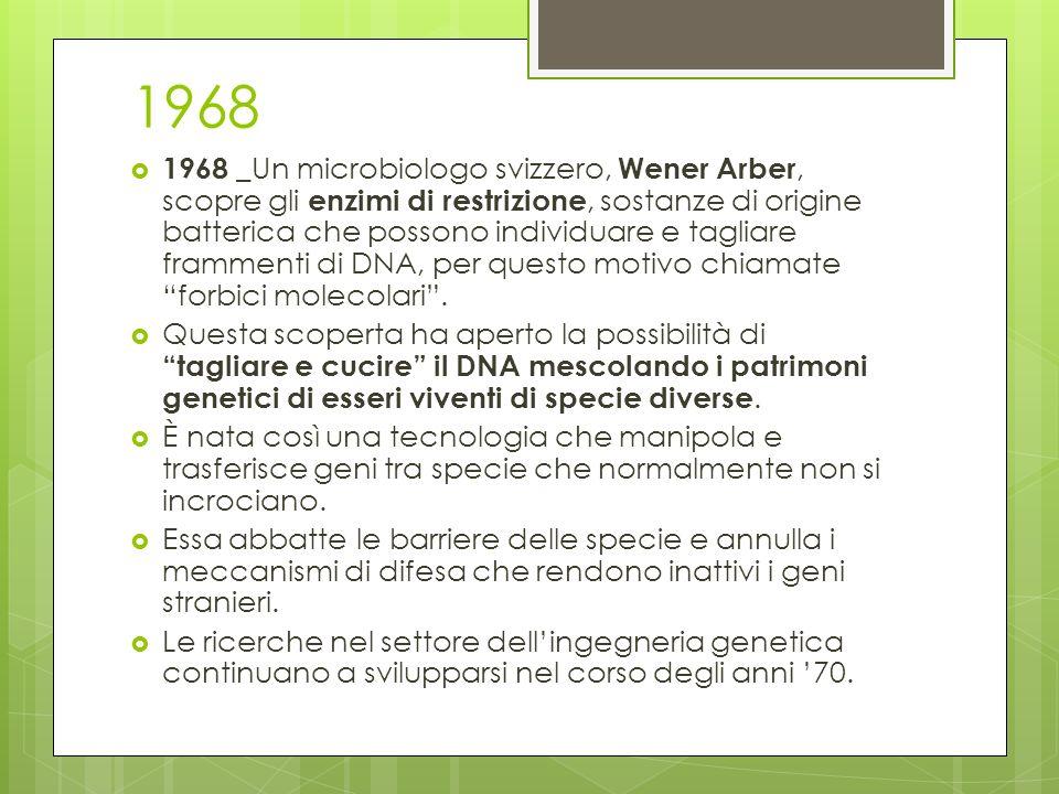1968 1968 _ Un microbiologo svizzero, Wener Arber, scopre gli enzimi di restrizione, sostanze di origine batterica che possono individuare e tagliare