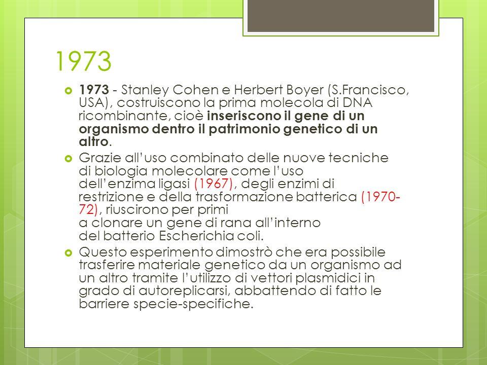 1973 1973 - Stanley Cohen e Herbert Boyer (S.Francisco, USA), costruiscono la prima molecola di DNA ricombinante, cioè inseriscono il gene di un organ