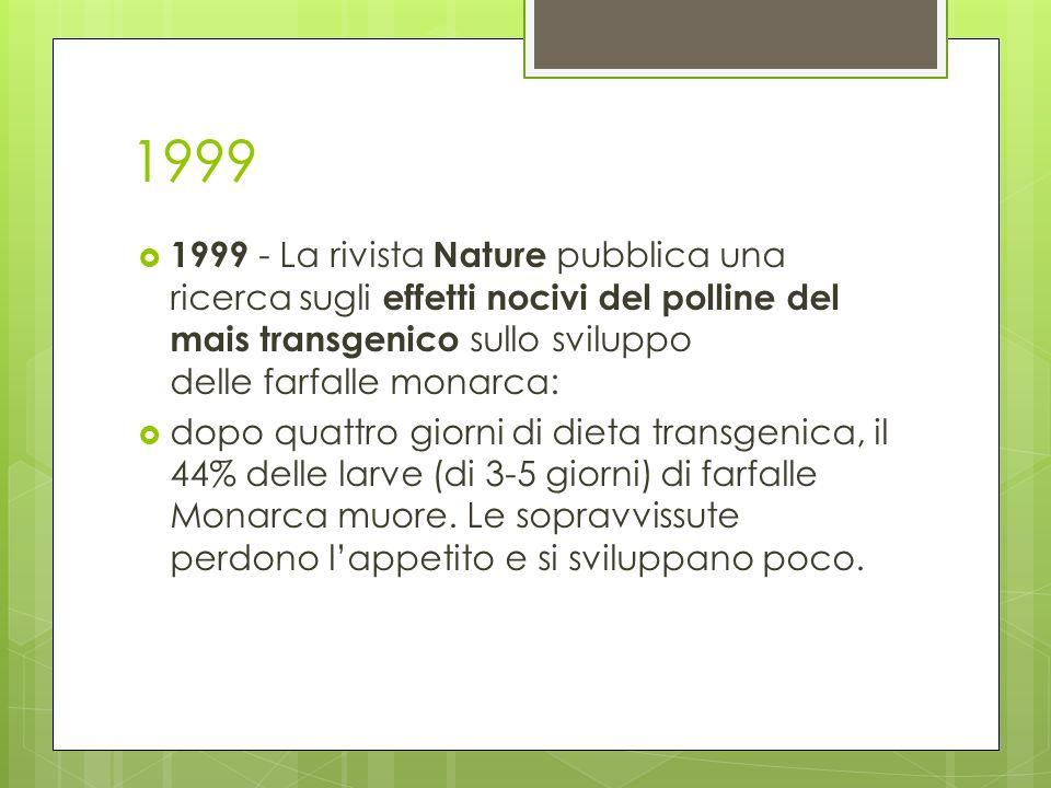 1999 1999 - La rivista Nature pubblica una ricerca sugli effetti nocivi del polline del mais transgenico sullo sviluppo delle farfalle monarca: dopo q