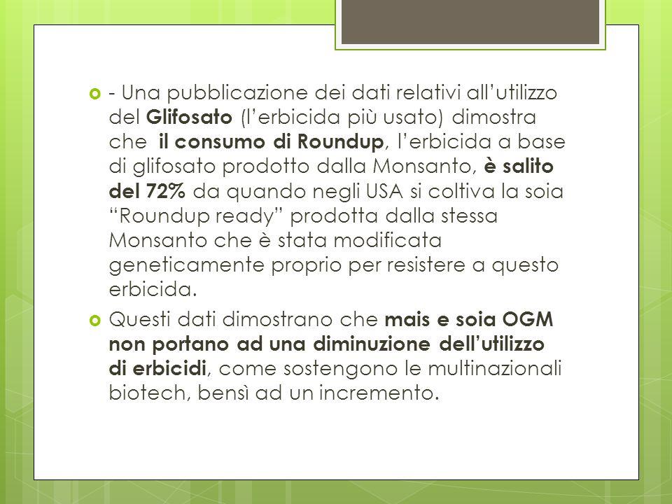- Una pubblicazione dei dati relativi allutilizzo del Glifosato (lerbicida più usato) dimostra che il consumo di Roundup, lerbicida a base di glifosat