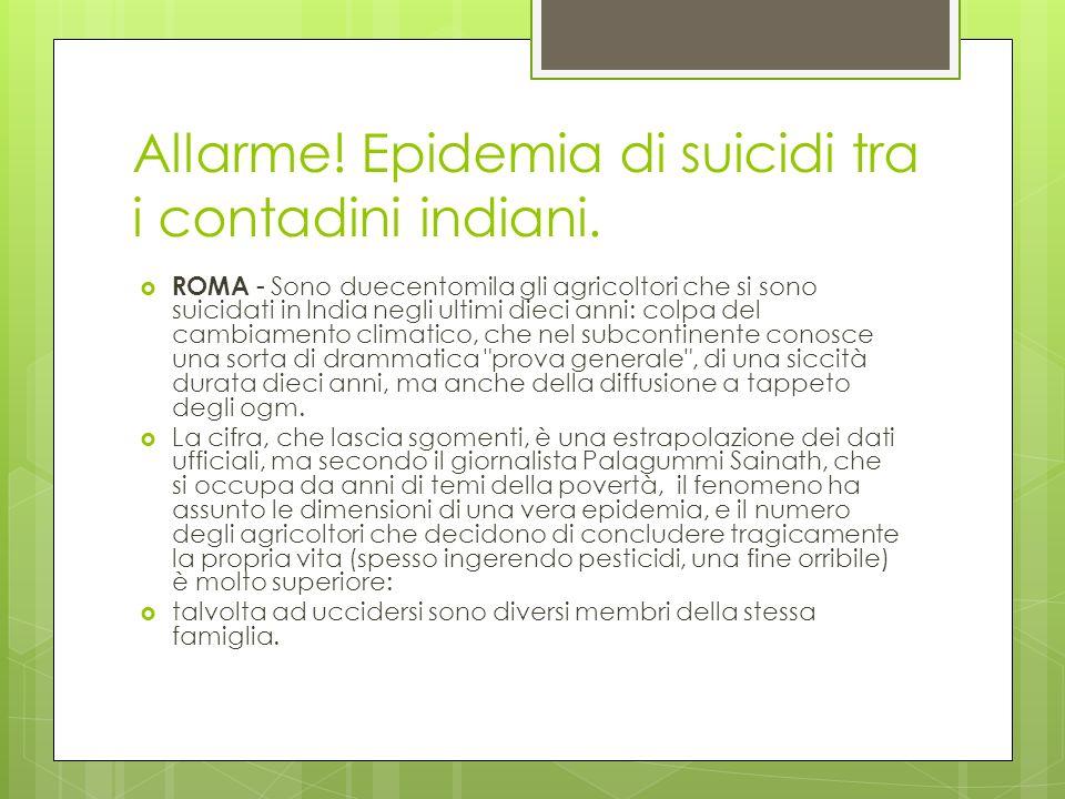 Allarme! Epidemia di suicidi tra i contadini indiani. ROMA - Sono duecentomila gli agricoltori che si sono suicidati in India negli ultimi dieci anni: