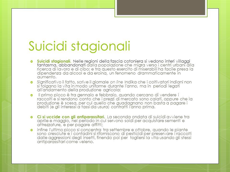 Suicidi stagionali Suicidi stagionali. Nelle regioni della fascia cotoniera si vedono interi villaggi fantasma, abbandonati dalla popolazione che migr