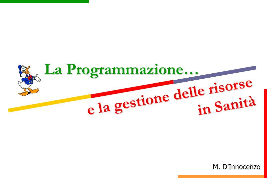 La Programmazione… M. DInnocenzo e la gestione delle risorse in Sanità e la gestione delle risorse in Sanità 1