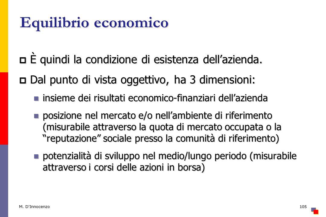 Equilibrio economico È quindi la condizione di esistenza dellazienda. È quindi la condizione di esistenza dellazienda. Dal punto di vista oggettivo, h