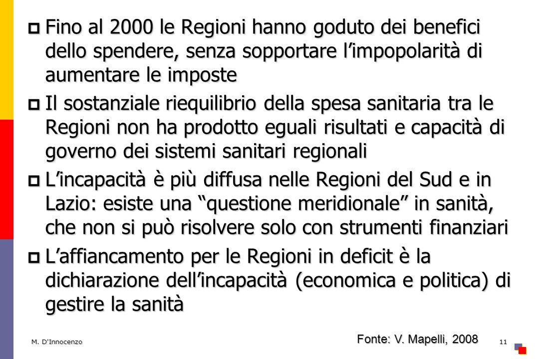 Fino al 2000 le Regioni hanno goduto dei benefici dello spendere, senza sopportare limpopolarità di aumentare le imposte Fino al 2000 le Regioni hanno