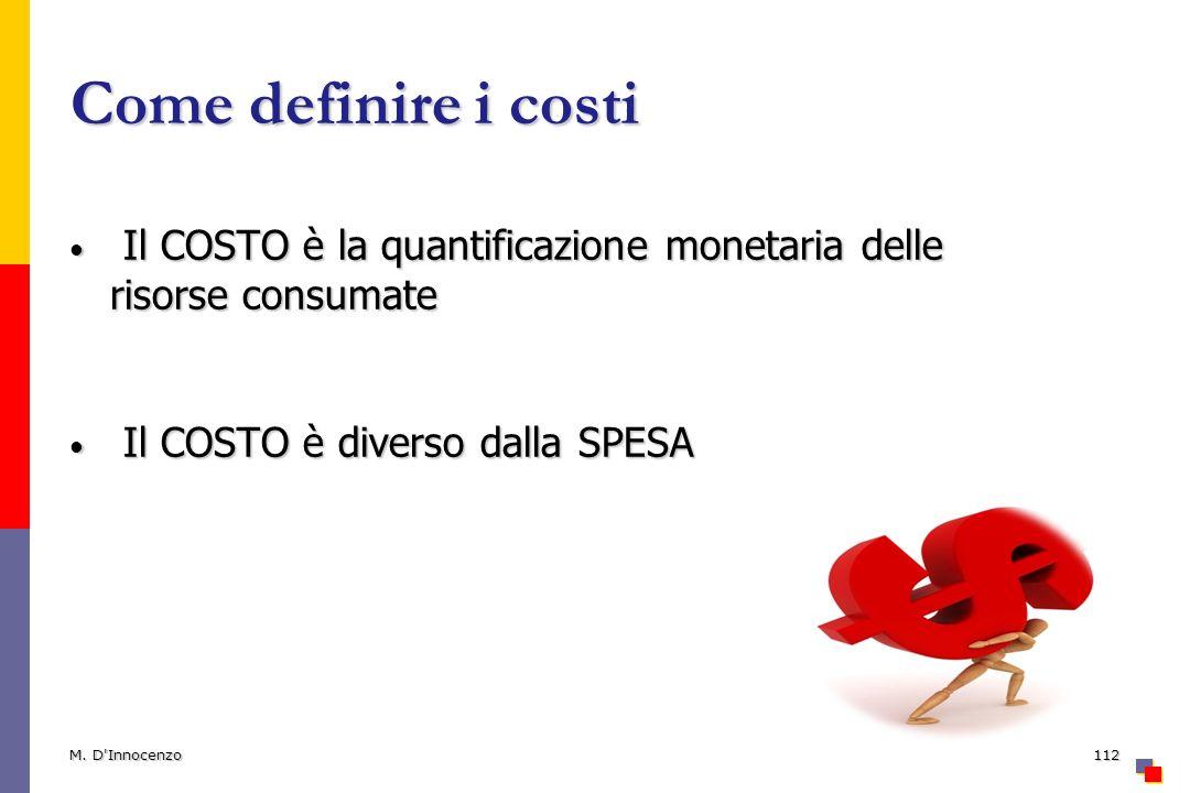 Come definire i costi Il COSTO è la quantificazione monetaria delle risorse consumate Il COSTO è la quantificazione monetaria delle risorse consumate