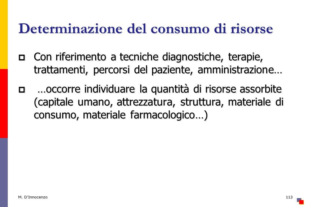 Determinazione del consumo di risorse Con riferimento a tecniche diagnostiche, terapie, trattamenti, percorsi del paziente, amministrazione… Con rifer