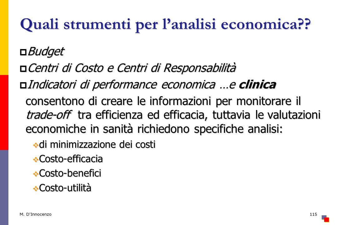Quali strumenti per lanalisi economica?.