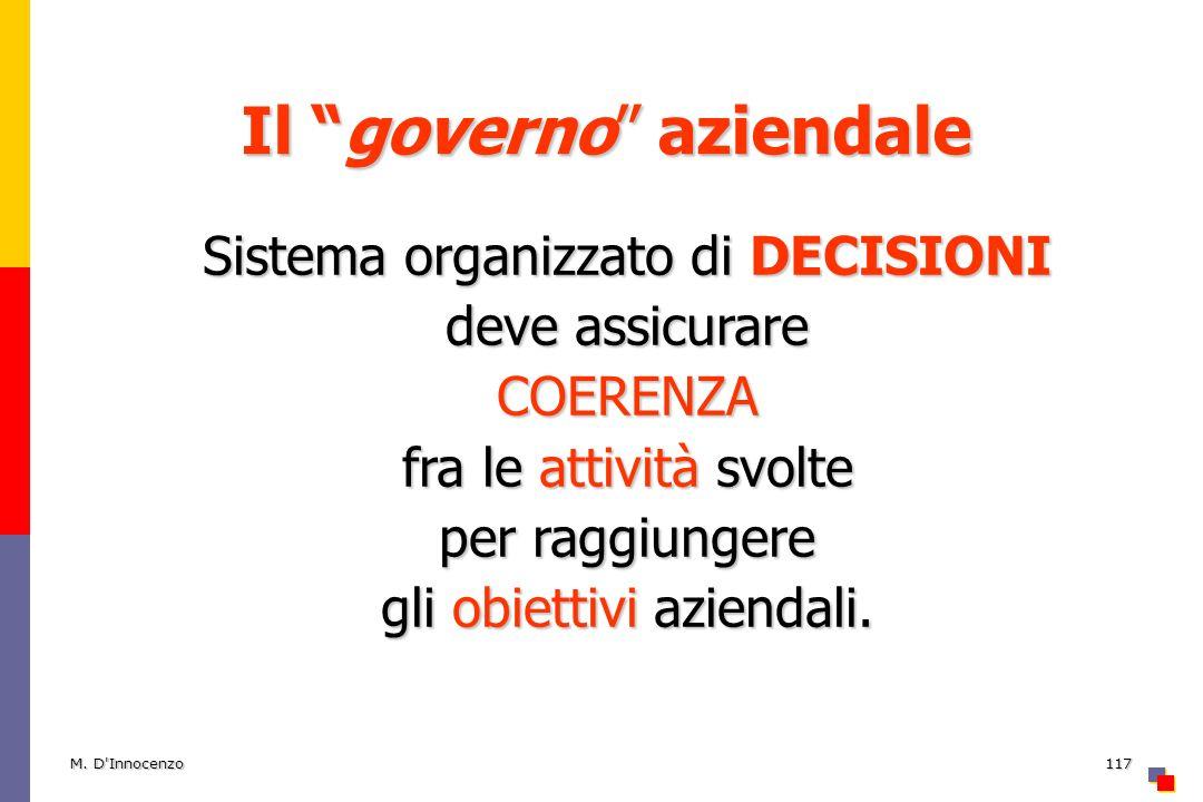 M. D'Innocenzo117 Il governo aziendale Sistema organizzato di DECISIONI deve assicurare COERENZA fra le attività svolte per raggiungere gli obiettivi