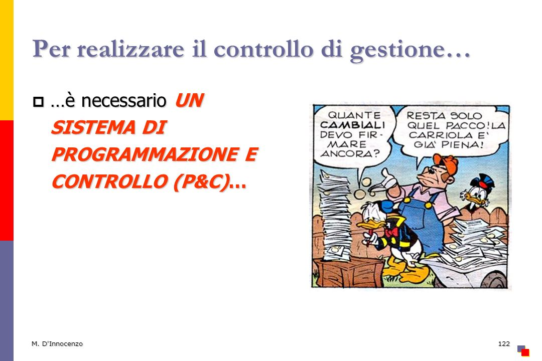 M. D'Innocenzo122 Per realizzare il controllo di gestione… …è necessario UN SISTEMA DI PROGRAMMAZIONE E CONTROLLO (P&C)… …è necessario UN SISTEMA DI P