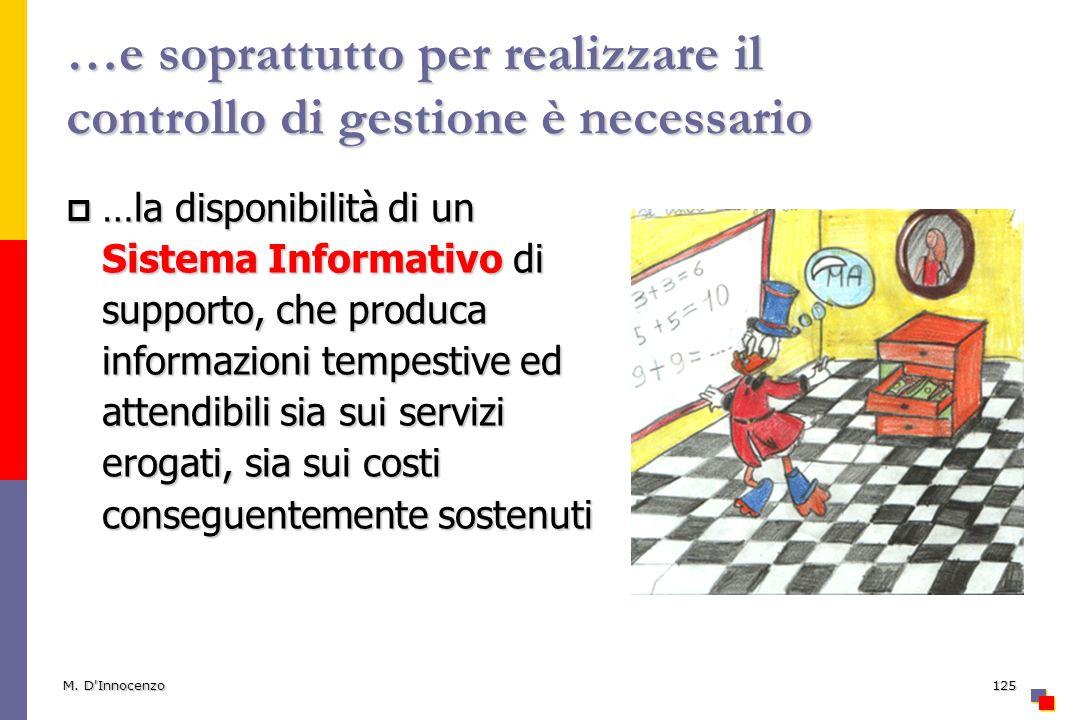 M. D'Innocenzo125 …e soprattutto per realizzare il controllo di gestione è necessario …la disponibilità di un Sistema Informativo di supporto, che pro
