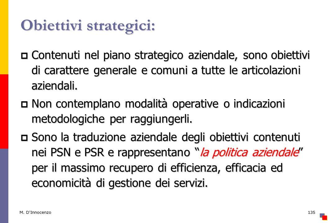 M. D'Innocenzo135 Obiettivi strategici: Contenuti nel piano strategico aziendale, sono obiettivi di carattere generale e comuni a tutte le articolazio