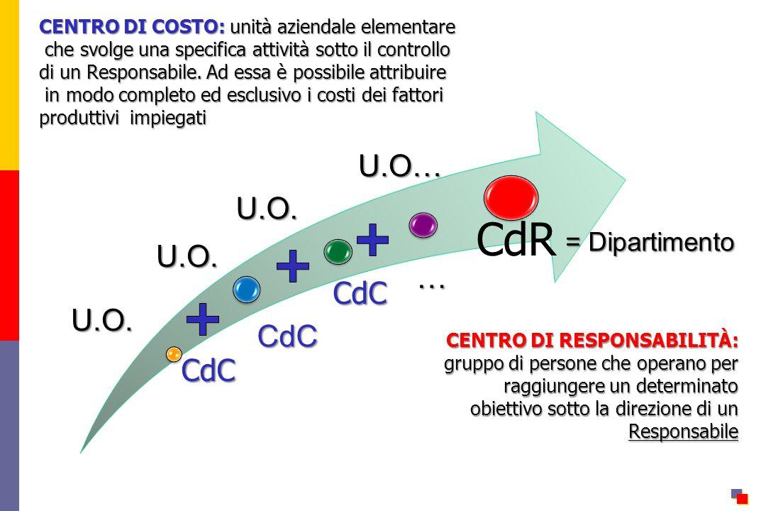 CdC … = Dipartimento U.O. U.O. U.O. U.O… CENTRO DI RESPONSABILITÀ: gruppo di persone che operano per raggiungere un determinato obiettivo sotto la dir