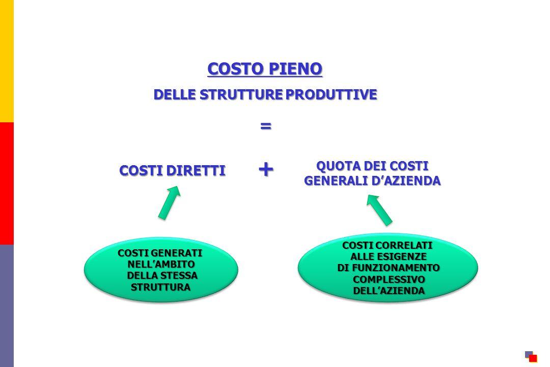 COSTO PIENO DELLE STRUTTURE PRODUTTIVE = COSTI DIRETTI + QUOTA DEI COSTI GENERALI DAZIENDA COSTI GENERATI NELLAMBITO DELLA STESSA DELLA STESSASTRUTTURA COSTI GENERATI NELLAMBITO DELLA STESSA DELLA STESSASTRUTTURA COSTI CORRELATI ALLE ESIGENZE ALLE ESIGENZE DI FUNZIONAMENTO DI FUNZIONAMENTO COMPLESSIVO COMPLESSIVO DELLAZIENDA DELLAZIENDA COSTI CORRELATI ALLE ESIGENZE ALLE ESIGENZE DI FUNZIONAMENTO DI FUNZIONAMENTO COMPLESSIVO COMPLESSIVO DELLAZIENDA DELLAZIENDA