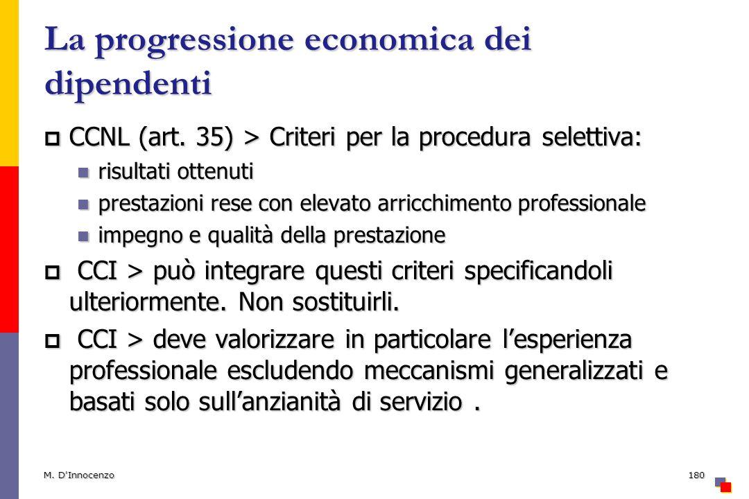 La progressione economica dei dipendenti CCNL (art. 35) > Criteri per la procedura selettiva: CCNL (art. 35) > Criteri per la procedura selettiva: ris