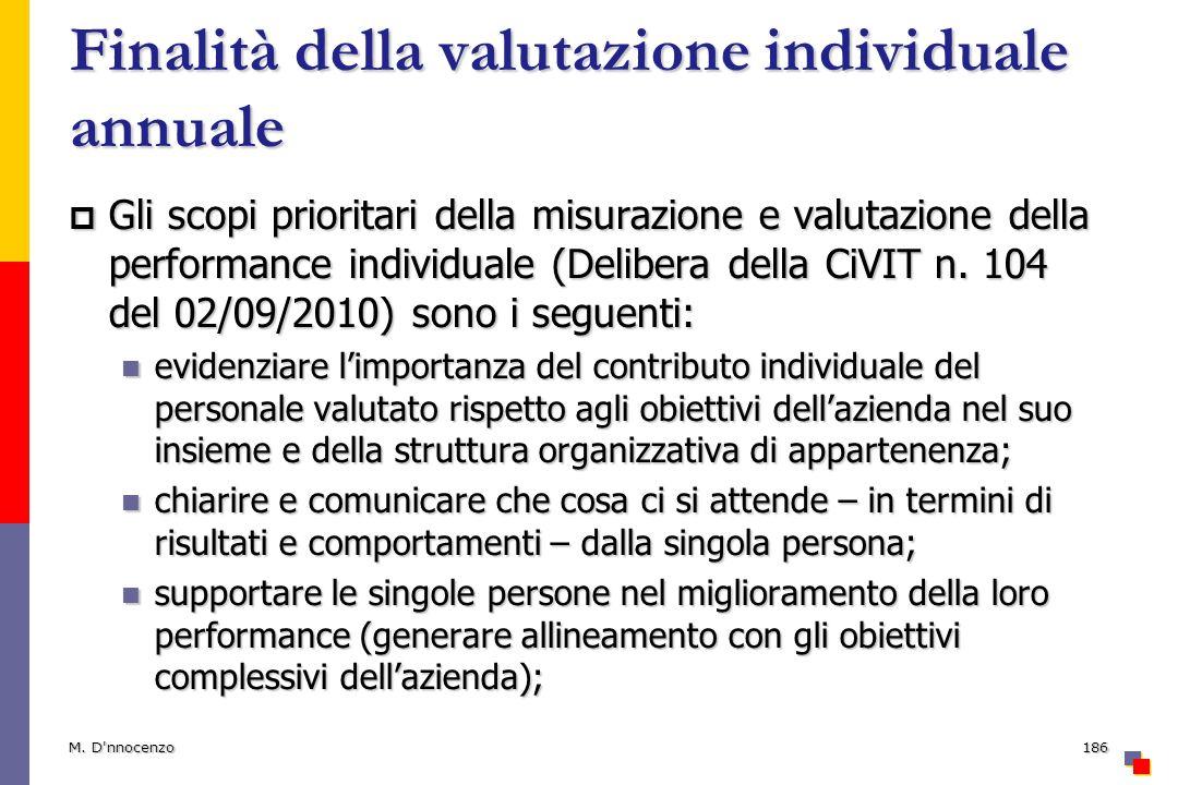 Finalità della valutazione individuale annuale Gli scopi prioritari della misurazione e valutazione della performance individuale (Delibera della CiVI