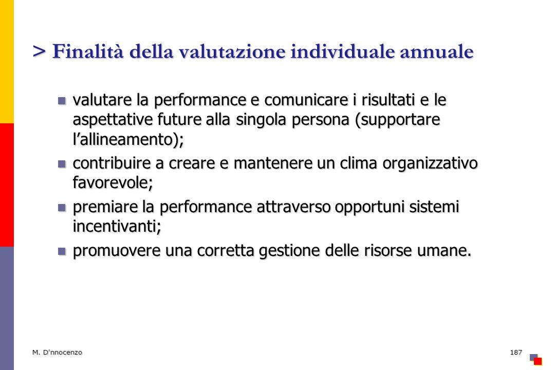 > Finalità della valutazione individuale annuale valutare la performance e comunicare i risultati e le aspettative future alla singola persona (suppor