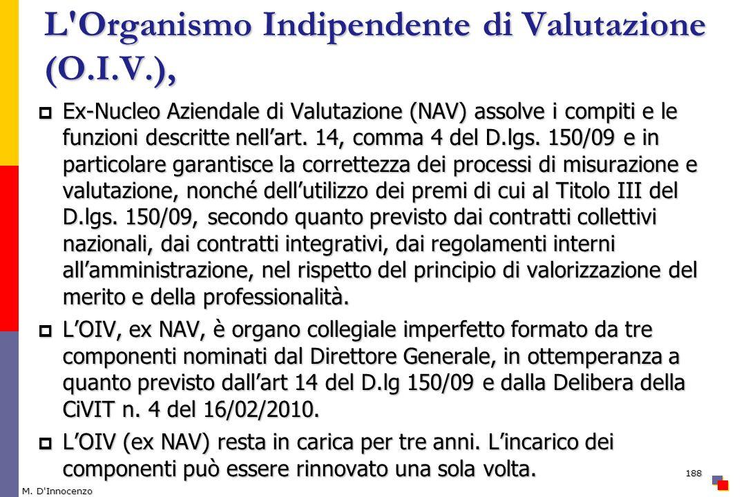 L'Organismo Indipendente di Valutazione (O.I.V.), Ex-Nucleo Aziendale di Valutazione (NAV) assolve i compiti e le funzioni descritte nellart. 14, comm