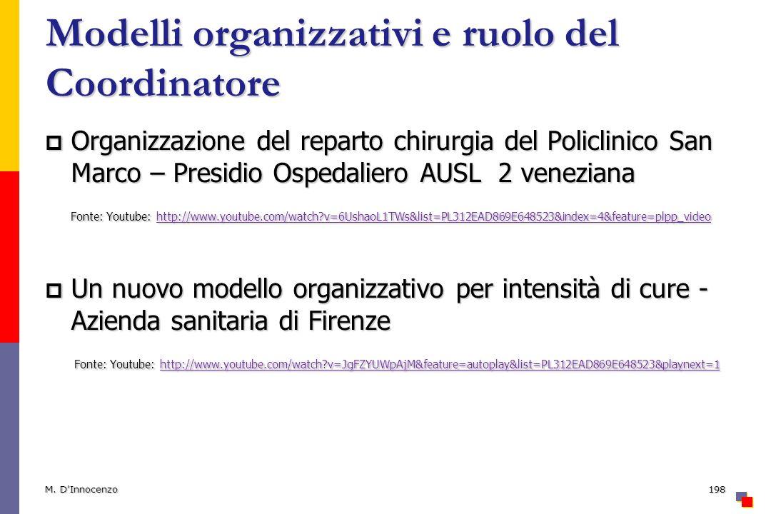 Modelli organizzativi e ruolo del Coordinatore Organizzazione del reparto chirurgia del Policlinico San Marco – Presidio Ospedaliero AUSL 2 veneziana