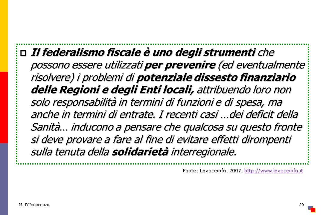 M. D'Innocenzo20 Il federalismo fiscale è uno degli strumenti che possono essere utilizzati per prevenire (ed eventualmente risolvere) i problemi di p