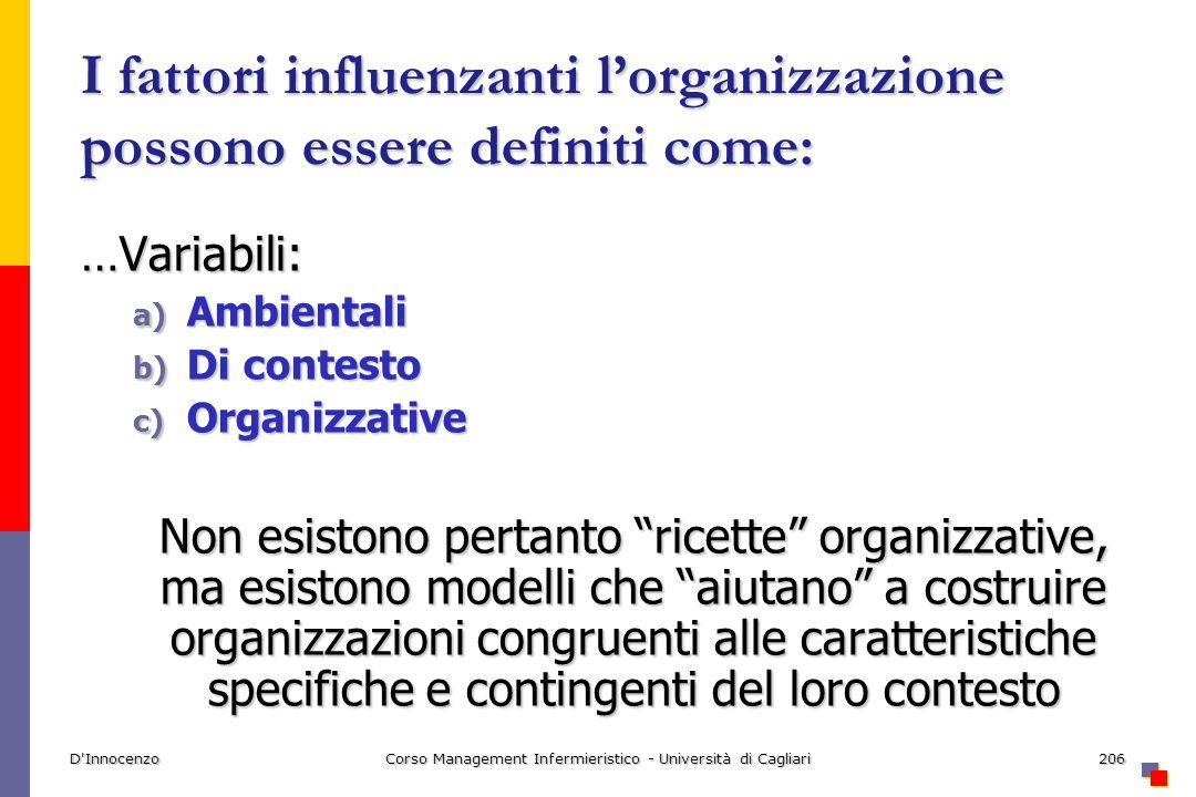 D'InnocenzoCorso Management Infermieristico - Università di Cagliari206 I fattori influenzanti lorganizzazione possono essere definiti come: …Variabil