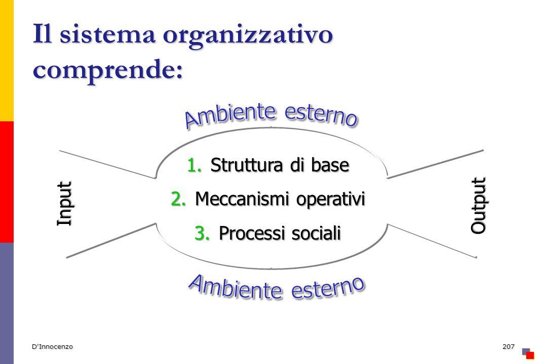 D Innocenzo207 Il sistema organizzativo comprende: 1.Struttura di base 2.Meccanismi operativi 3.Processi sociali Input Output