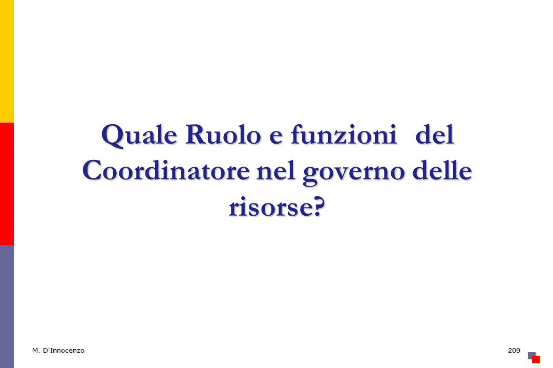 Quale Ruolo e funzioni del Coordinatore nel governo delle risorse? M. D'Innocenzo209