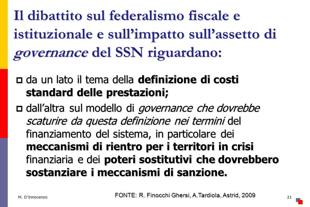 Il dibattito sul federalismo fiscale e istituzionale e sullimpatto sullassetto di governance del SSN riguardano: da un lato il tema della definizione