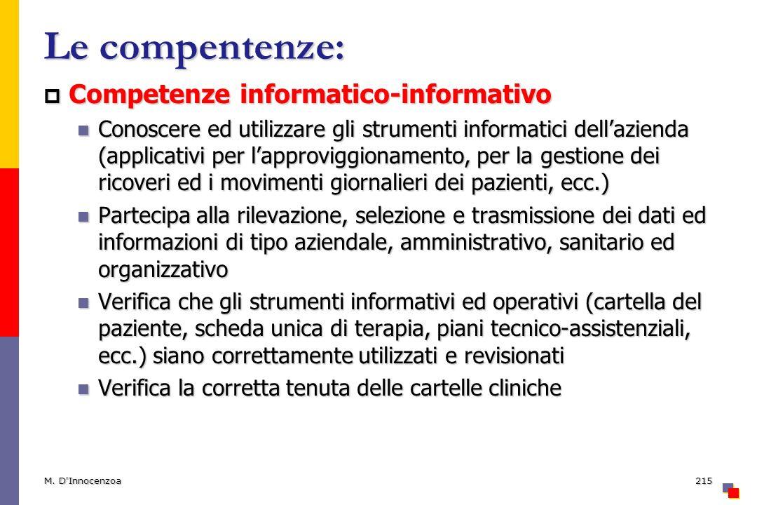 Le compentenze: Competenze informatico-informativo Competenze informatico-informativo Conoscere ed utilizzare gli strumenti informatici dellazienda (a