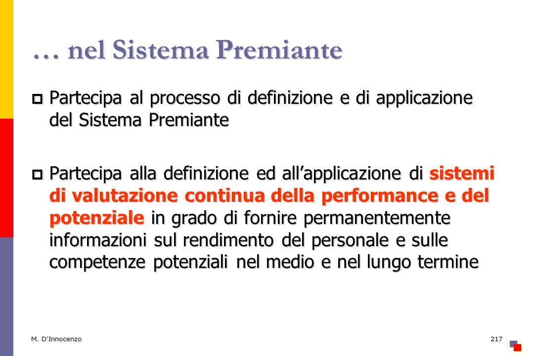 M. D'Innocenzo217 … nel Sistema Premiante Partecipa al processo di definizione e di applicazione del Sistema Premiante Partecipa al processo di defini