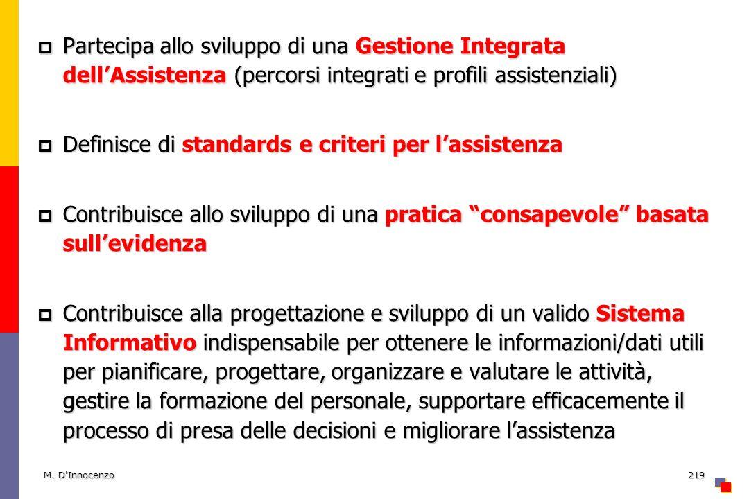 M. D'Innocenzo219 Partecipa allo sviluppo di una Gestione Integrata dellAssistenza (percorsi integrati e profili assistenziali) Partecipa allo svilupp