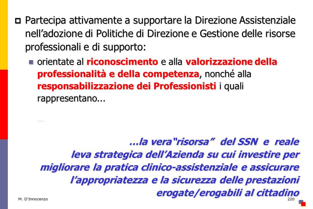 M. D'Innocenzo220 Partecipa attivamente a supportare la Direzione Assistenziale nelladozione di Politiche di Direzione e Gestione delle risorse profes